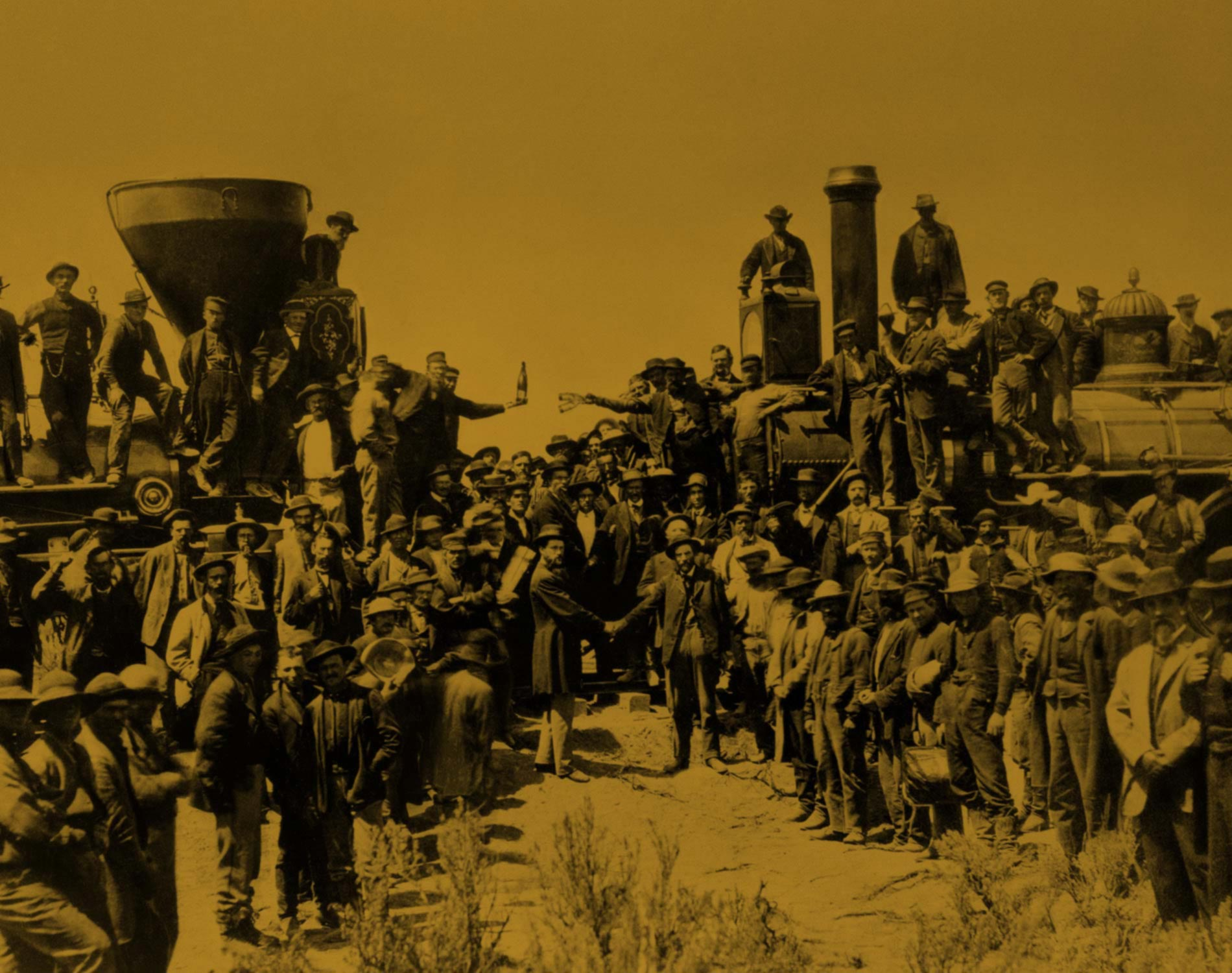 Photo of the Golden Spike being put in