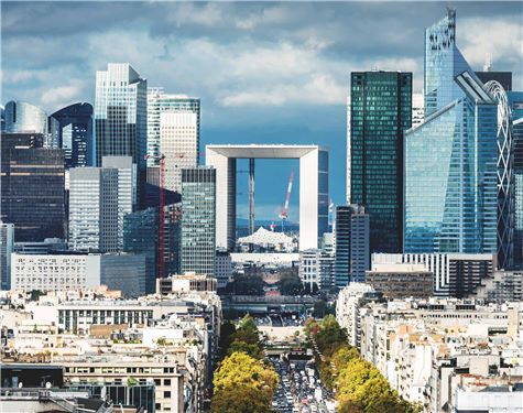 Aerial view of La Defense in Paris