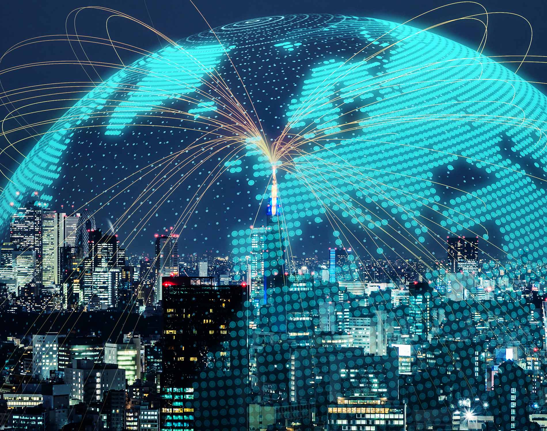 Cityscape with Globe image overlay and network lines.