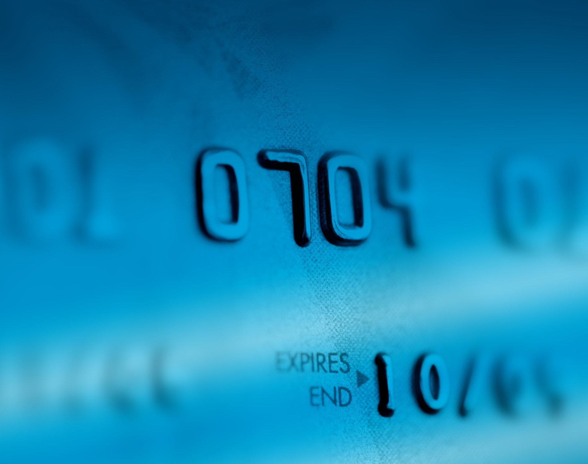 Credit card with numbers