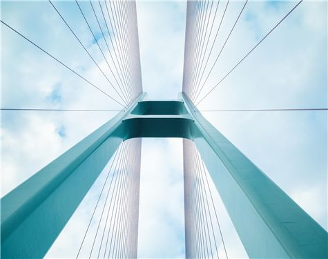 blue cable stayed bridge closeup