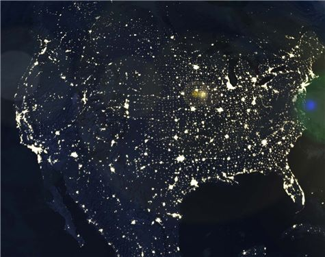 Map of US at night