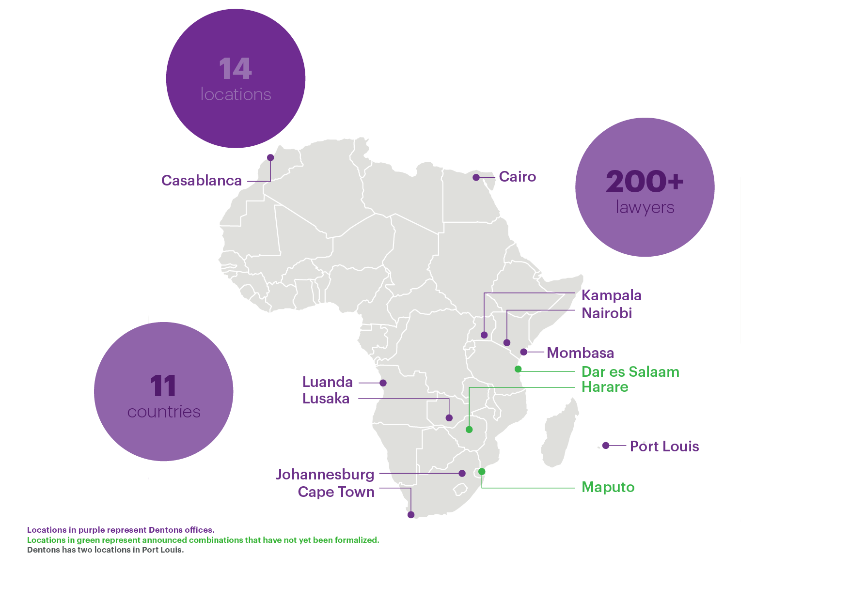 Map of our offices in Africa