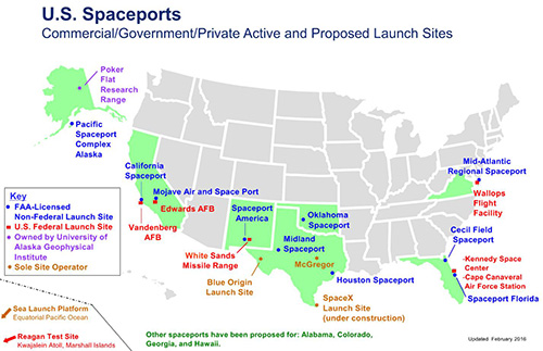 Figure 3: Location of spaceports in the United States. Source: FAA