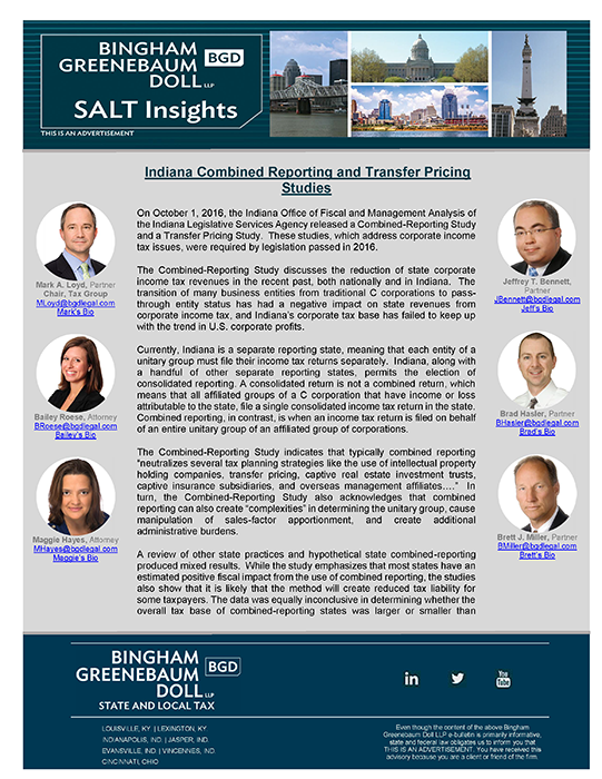 BGD SALT Insights - Indiana Combined Reporting and Transfer Pricing mar 2 2017