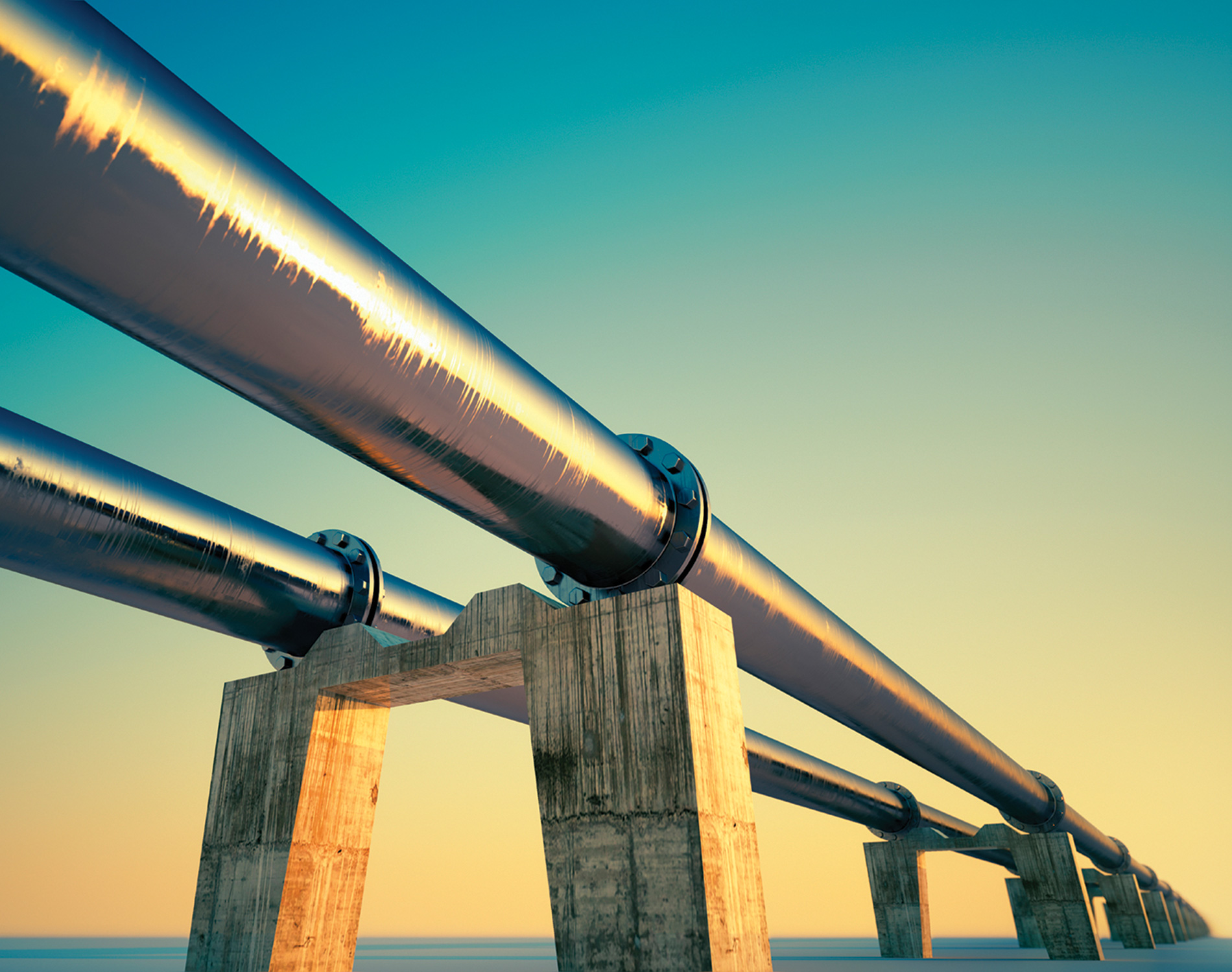 Energy pipeline at sunset